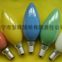 供应C35烛型灯泡内凃绿色E14白炽灯泡白炽灯