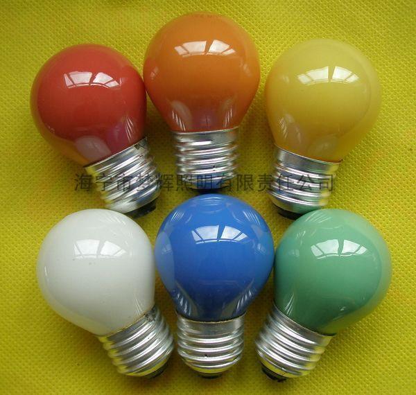 供应G45球型灯泡内凃黄色E27白炽灯泡白炽灯