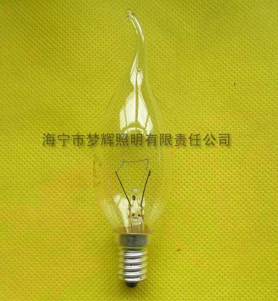 供应CA35拉尾灯泡透明E14白炽灯泡