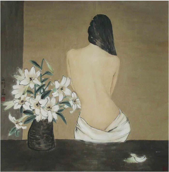人物画孟刚画半裸女