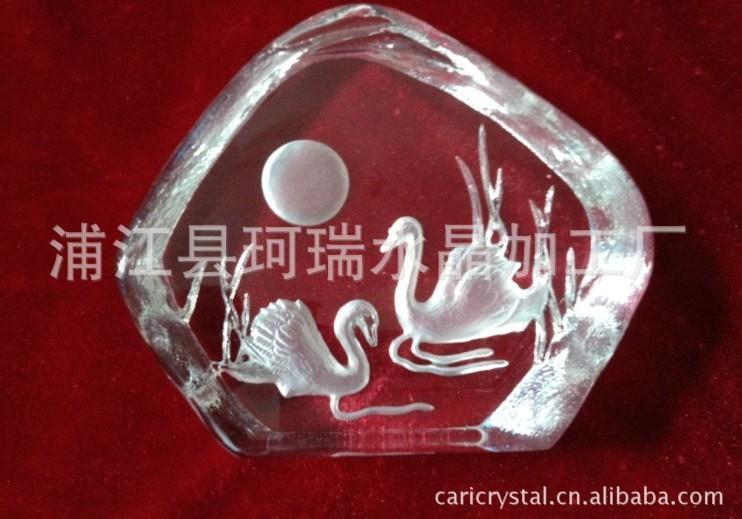 供应水晶压型工艺品天鹅