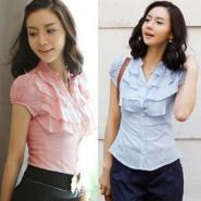 韩版淑女时尚荷叶边立领泡泡短袖衬图片