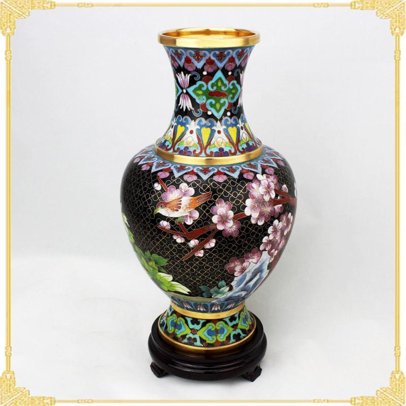 景泰蓝花瓶图片 景泰蓝花瓶样板图 景泰蓝花瓶老货10寸黑...