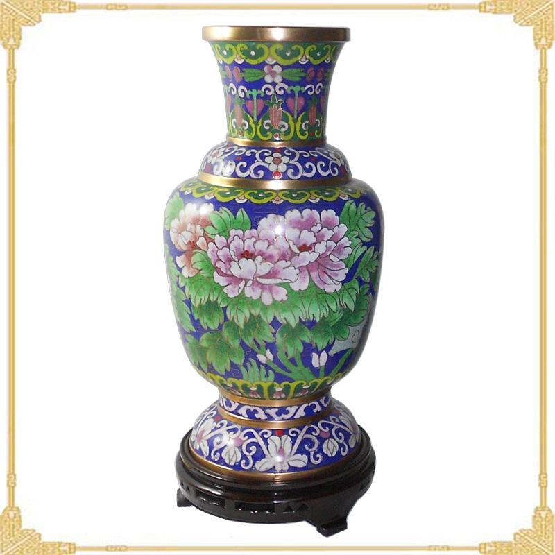 ...景泰蓝花瓶样板图 景泰蓝花瓶老货10寸珐琅六线瓶 北京景泰...