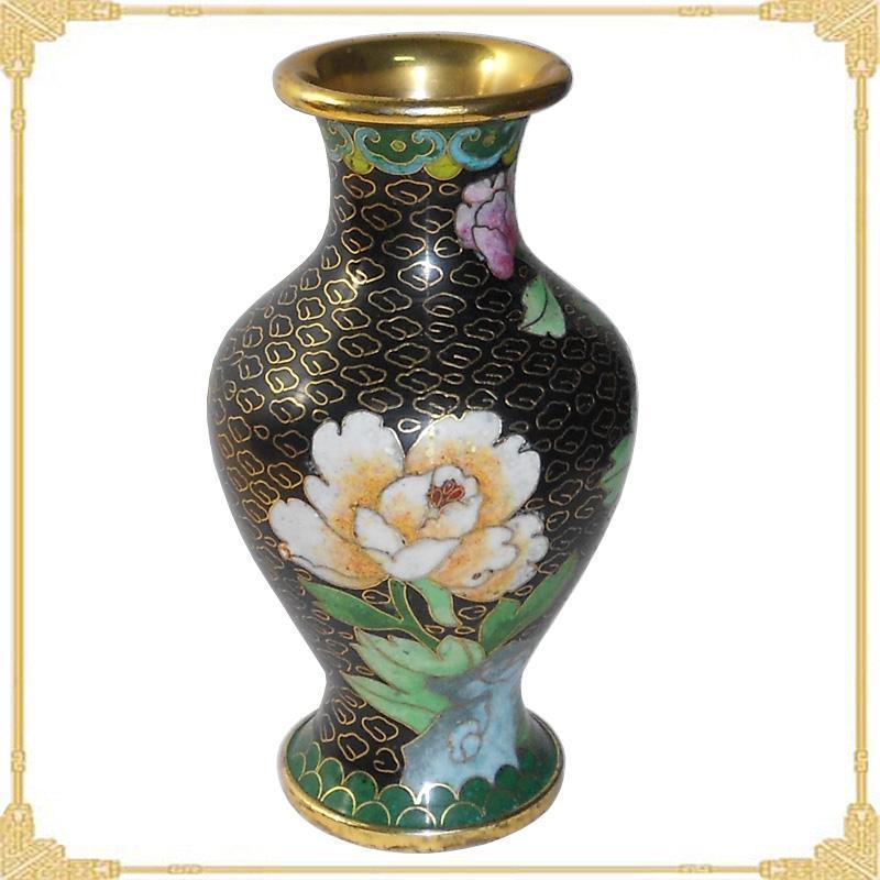 ...景泰蓝花瓶样板图 景泰蓝花瓶老货5寸珐琅观音瓶 北京景泰蓝...