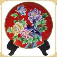 正品景泰蓝赏盘10寸红地牡丹花盘图片