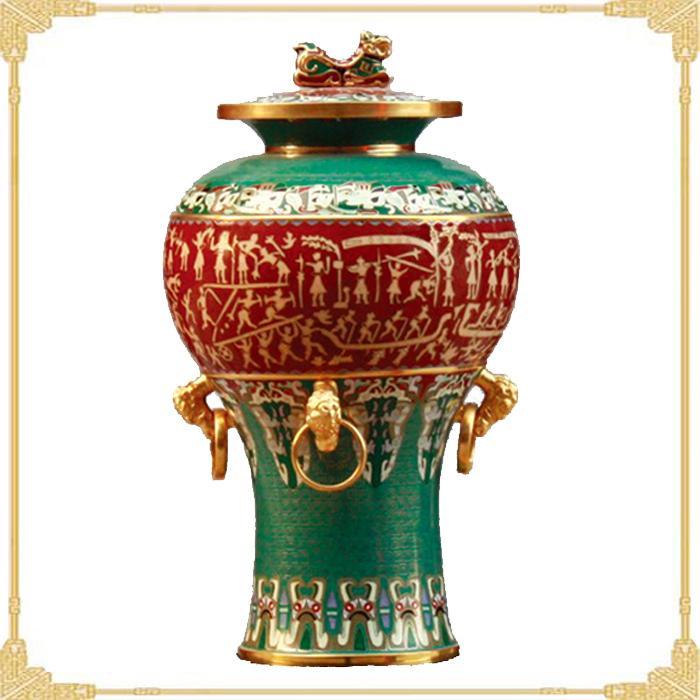 景泰蓝花瓶图片 景泰蓝花瓶样板图 四环錞于尊景泰蓝花瓶...