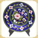 景泰蓝盘子8寸花丝蓝地珐琅花盘图片