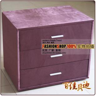 紫色三屉柜图片