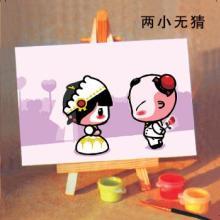 供应吉林蒙娜丽莎数字油画两小无猜 六千亿的孩童市场图片