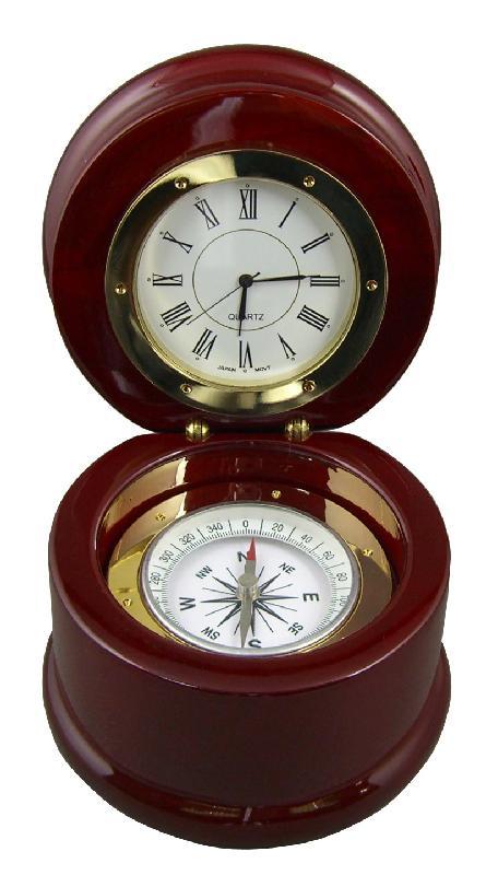 供应指南针石英钟、翻盖实木指南针时钟、礼品家居办公石英钟、实木座钟