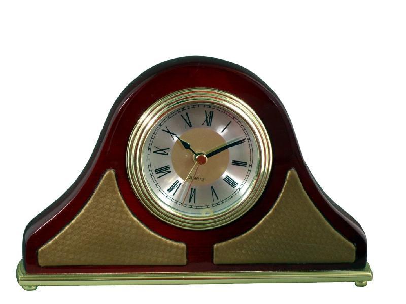 供应AT016实木皮具座钟、实木+皮质石英钟、酒店家居闹钟、高档木钟