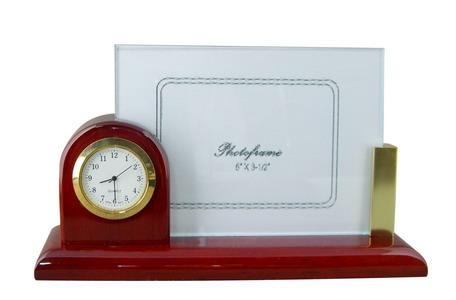供应相片夹石英钟、实木漆石英钟办公家居礼品座钟、相框时钟、名片夹座钟