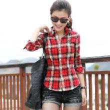 供应时尚衬衫2013年潮流韩版女装长袖衬衫春夏季新款格子衬衫批发沙河