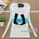 供应女装长袖白色T恤批发韩版卡通女装