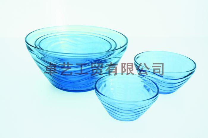 供应蓝料玻璃碗 内纹玻璃碗套装 5件套玻璃碗 40QH玻璃碗,...