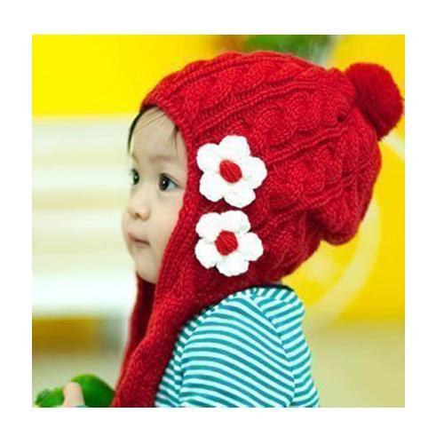 供应韩国流行冬季针织小花帽/儿童帽 冬季儿童保暖生活日用品