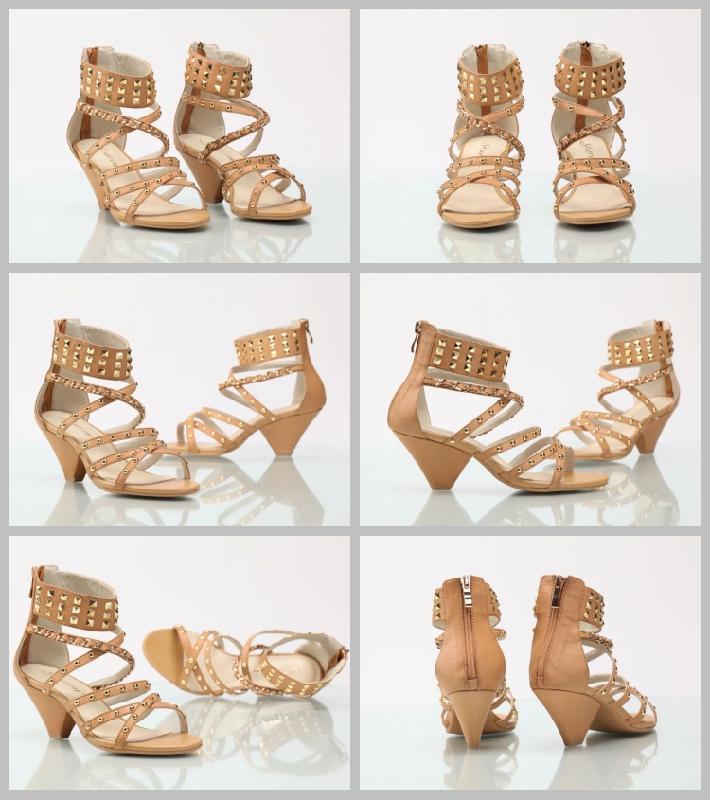 真皮粗铆钉罗马风情凉鞋图片