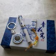青花瓷钥匙扣套装青花瓷礼品厂家图片
