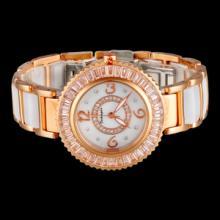厂家供应 精美时尚 防水不锈钢间陶瓷高档女式手表  时来运转带钻手表图片