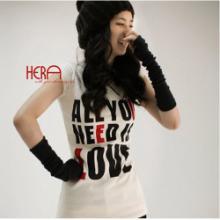 韩版秋冬时尚薄款纯色半指手臂套/露指长手套/毛线针织袖套-咖啡色批发