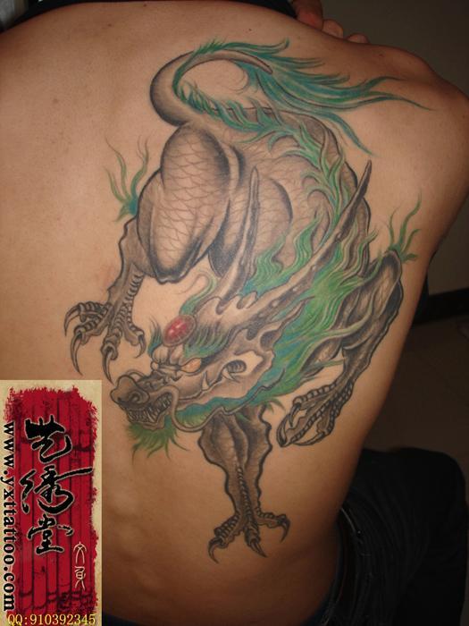 青岛艺绣堂纹身作品麒麟图片|青岛艺绣堂纹身作品