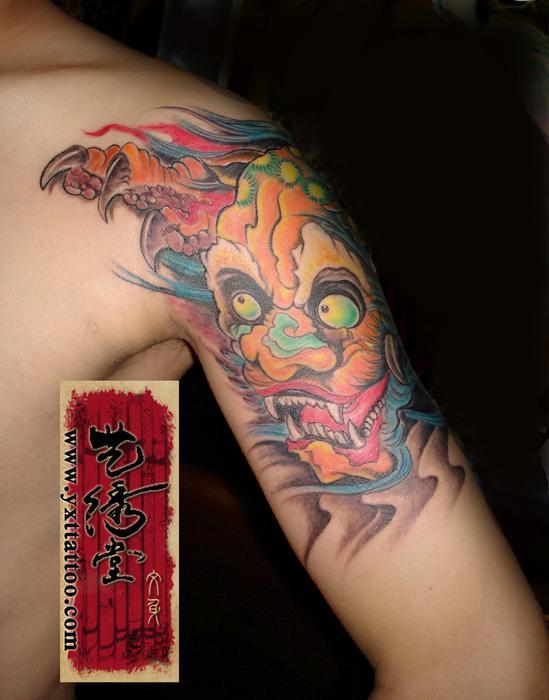 纹身唐狮图片