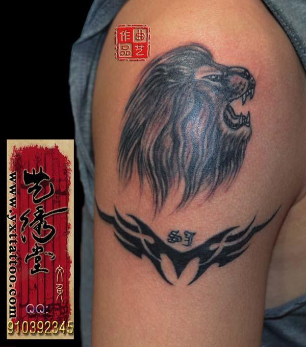pin 男人后背霸气超酷的石狮子纹身图案 on pinterest图片