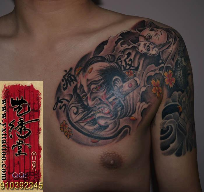 满背坠落天使翅膀纹身手稿内容图片分享