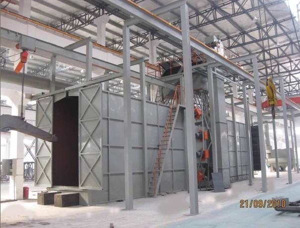 供应塔式起重机结构件抛丸除锈机/塔机焊接结构件喷涂喷漆前喷砂除锈