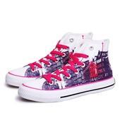 城市剪影高帮帆布女鞋白暗紫色图片