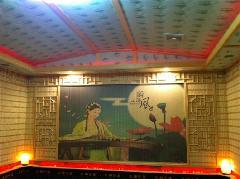 供应汗蒸房喷绘竹帘人物画山水画古代美女图1.2  1.5  1.8高