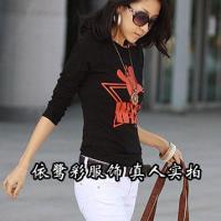 韩版时尚女式长袖T恤批发纯棉
