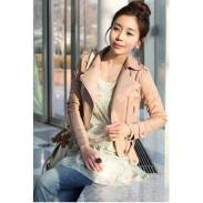 韩版OL斜拉链长袖皮衣外套图片