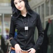韩版黑色修身衬衫长袖女衬衫/衬衣图片