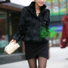 供应韩版秋冬女装皮草兔毛外套短款长袖 定做批发 方领 长袖