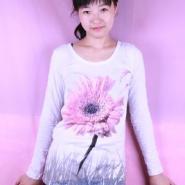 长袖纯棉女式双面印花彩钻T恤批发图片