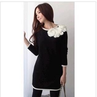 供应黑色秋装连衣裙 新款韩国修身玫瑰花领边合体