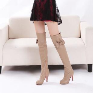 羊纹PU女人蝴蝶结高跟靴过膝长靴图片