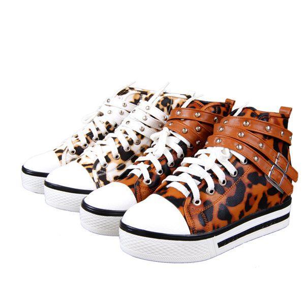 厚底鞋松糕鞋豹纹单鞋