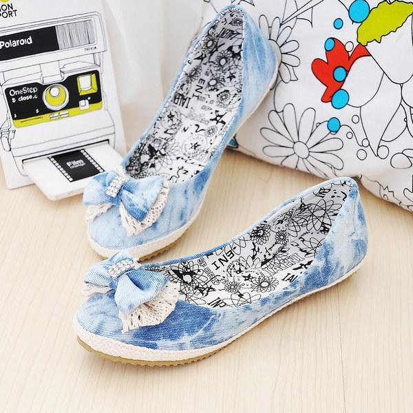 温柔港湾女鞋屋生产供应浅口平底牛仔布蝴蝶结水钻
