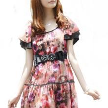 京都知衣2011新款雪纺印花粉色米灰色修身韩版连衣裙0801批发