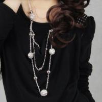 时尚热卖女式毛衣链镂空球长款项链