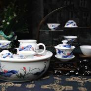 青花釉里红功夫茶具12头和为贵图片