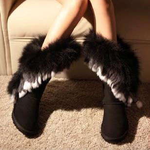 新款狐狸毛兔毛流苏雪地靴厂家批发图片