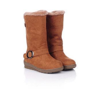 冬季 纯色 雪地靴/2011冬季新品女靴 圆头皮带扣雪地靴中跟牛筋底中筒靴纯色绒...