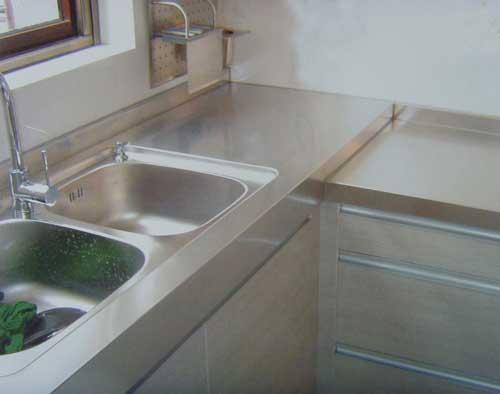 不锈钢台面整体橱柜效果图 图片