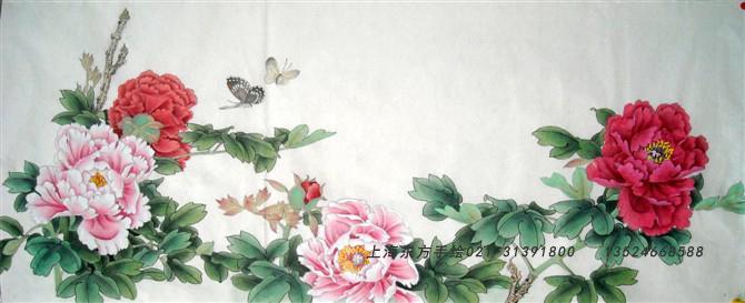 供应上海手绘墙国画工笔画牡丹-工笔国画牡丹图片图片大全 工笔牡丹