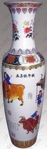 景德镇陶瓷五子牧牛陶瓷大花瓶图片