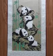 蜀锦熊猫步步高升熊猫蜀锦图片